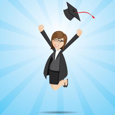 illustration of cartoon businesswoman in graduation form Vector