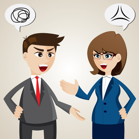 dissent: illustration of argument between businessman and businesswoman