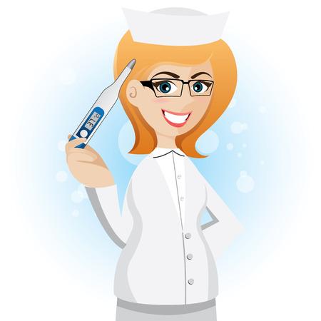 enfermera con cofia: ilustración de enfermera de la historieta con el termómetro Vectores