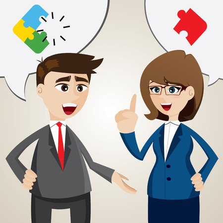 illustration of cartoon solve problem between businessman and businesswoman Vectores