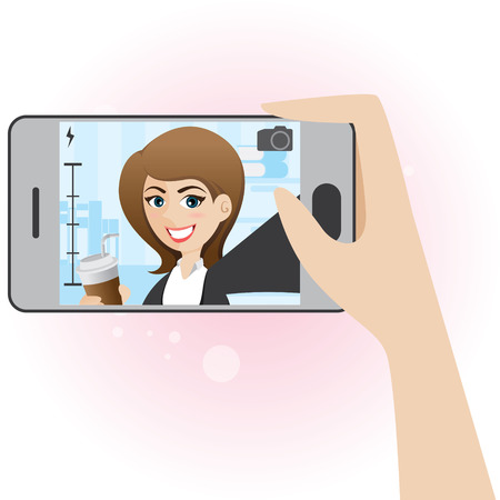 illustration of cartoon cute girl take selfie photo Vector