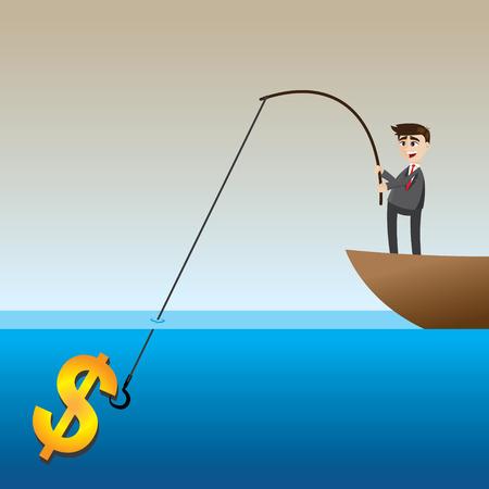 canna pesca: illustrazione del cartoon businessman denaro pesca in barca