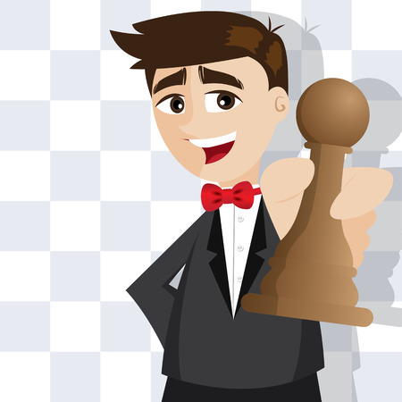 art piece: illustration of cartoon businessman with piece of chess