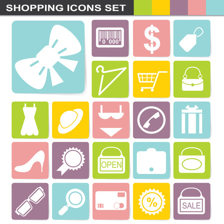 flatten: illustration of flatten design shopping icons set