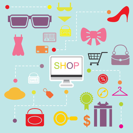 flatten: illustration of shopping online infographics flatten design