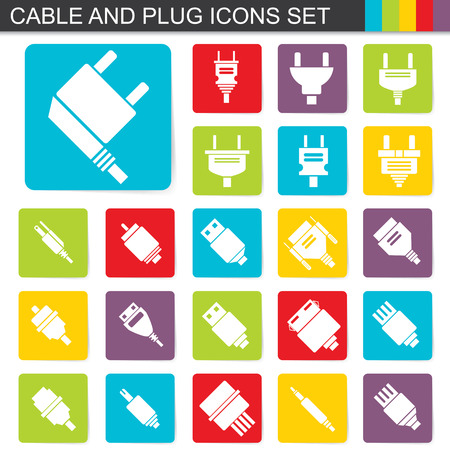 network connection plug: illustration of falt design cable and plug icons set
