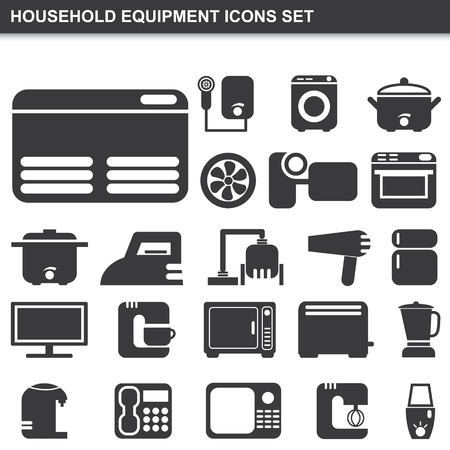 illustration of household equipment icons set Vector