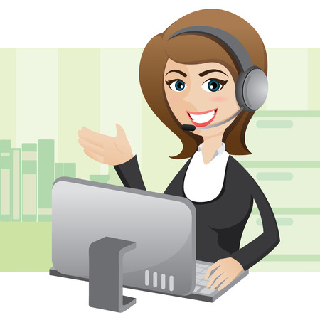 callcenter: illustration of cartoon girl callcenter with computer