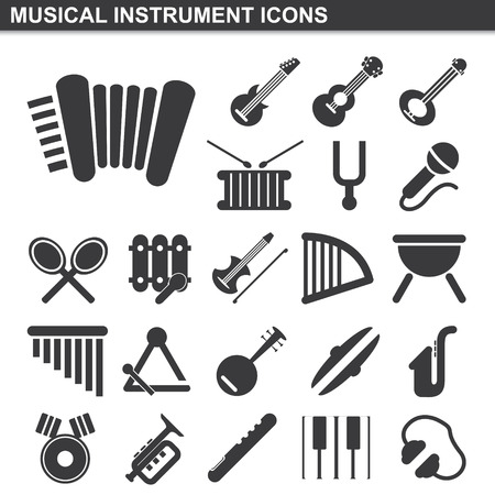 illustration of musical instrument icons set Vector