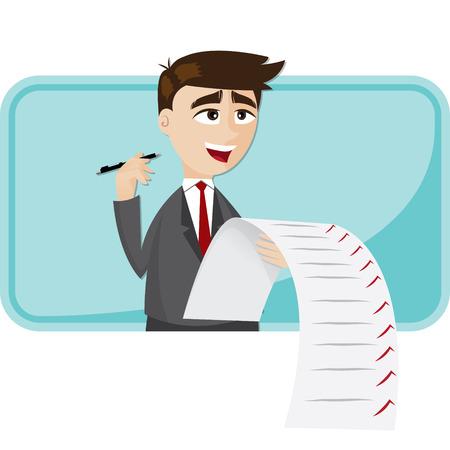 Illustration Cartoon Geschäftsmann mit Papier-Checkliste