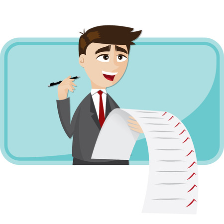 illustration of cartoon businessman with checklist paper