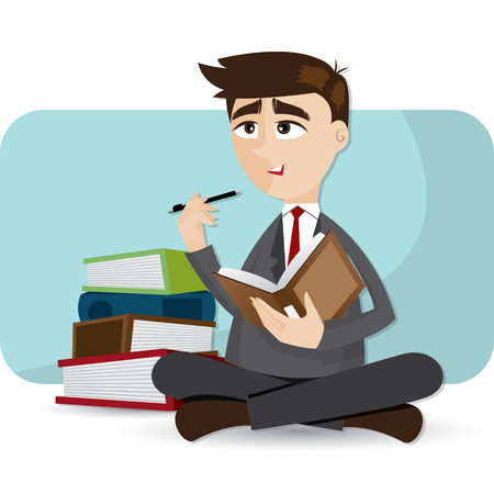 libro caricatura: ilustración de dibujos animados de negocios que piensa con el libro