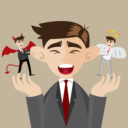 illustration of cartoon businessman with evil and angel Vector