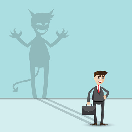 illustration of cartoon businessman with shadow of evil Vector