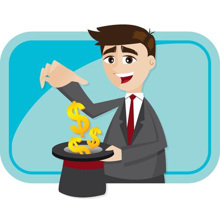 illustration of cartoon businessman cast money from magician hat Vector