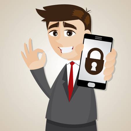 illustration of cartoon businessman with locking smartphone 向量圖像