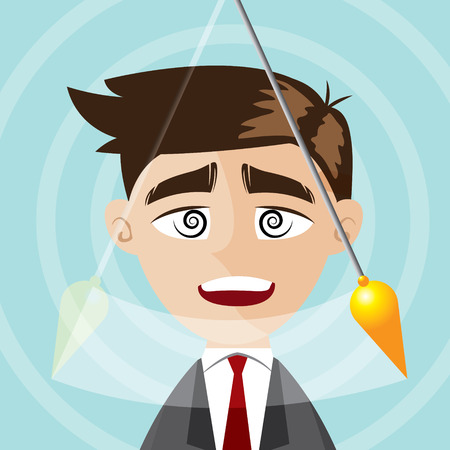 illustration of cartoon businessman hypnotized 向量圖像