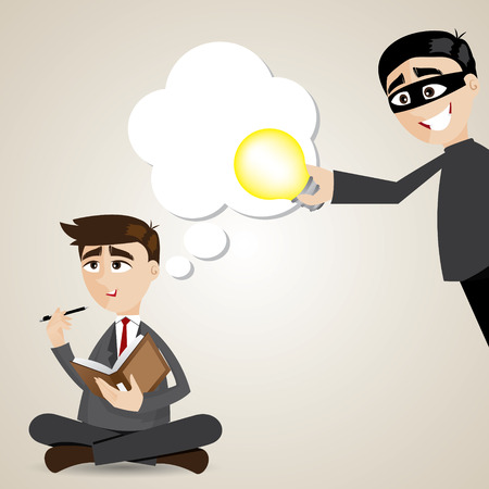 illustration of cartoon businessman with stolen idea Vector