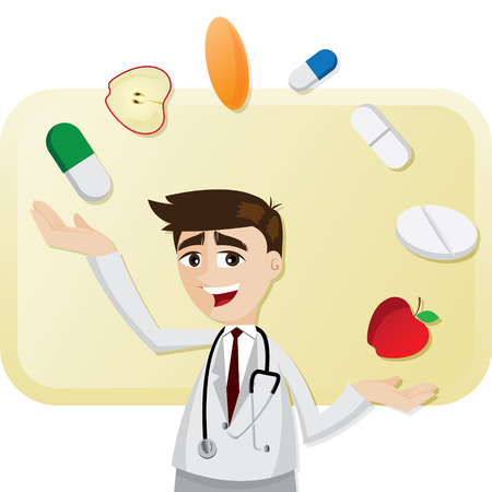 illustration of cartoon doctor with medicine juggling Vector