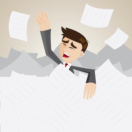 illustration of cartoon businessman under pile of paper