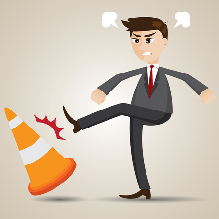 chafe: illustration of cartoon angry businessman kicking cone