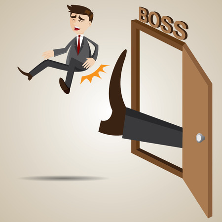 kicked out: illustration of cartoon businessman kicked out of boss room