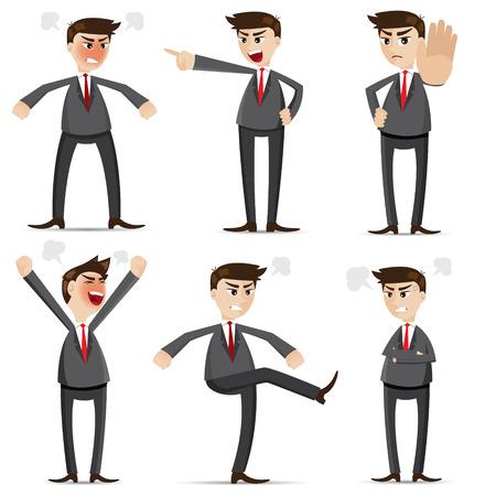 illustratie van cartoon zakenman boos set Vector Illustratie