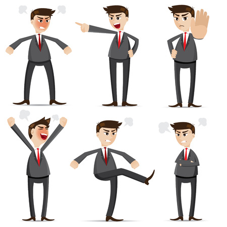 illustration of cartoon businessman angry set Vectores