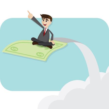 flying money: ilustraci�n de dibujos animados de negocios en el dinero del vuelo