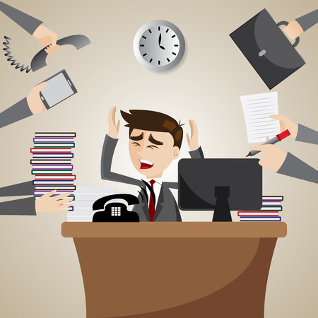 illustration of cartoon businessman busy on working time Vector