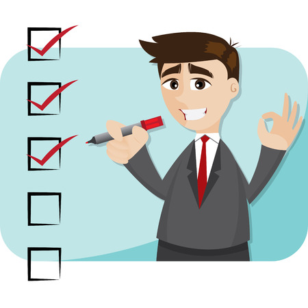 illustration of cartoon businessman with checklist