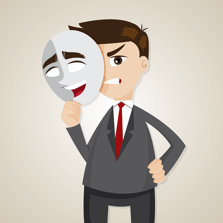illustration of cartoon angry businessman under happy mask Vector