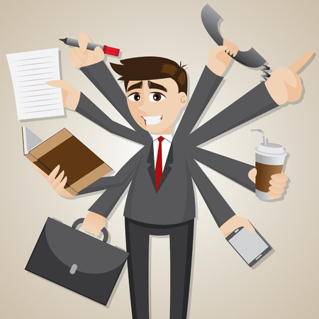 illustration of cartoon businessman multi tasking