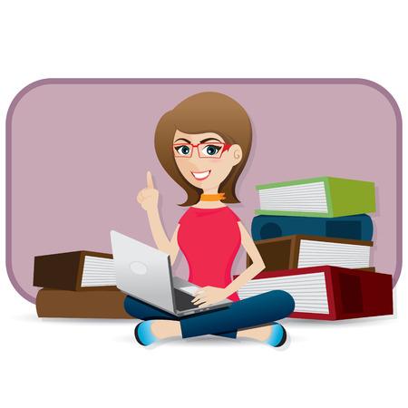 using laptop: illustrazione di cartone animato ragazza con laptop Vettoriali