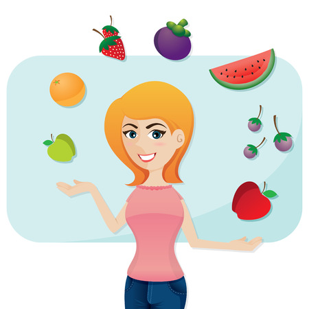 illustration of cartoon cute girl with fruits in healthy life and diet concept Vector