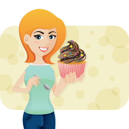 sweety: illustration of cartoon cute girl with sweeties cupcake