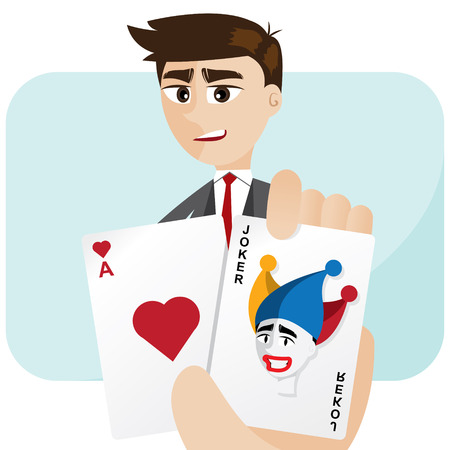 joker card: illustration of cartoon businessman draw joker card in risk concept Illustration
