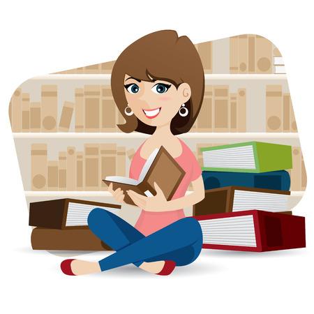 illustratie van cartoon schattig meisje leesboek in de bibliotheek
