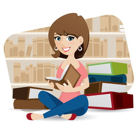 illustration of cartoon cute girl reading book in library Vector