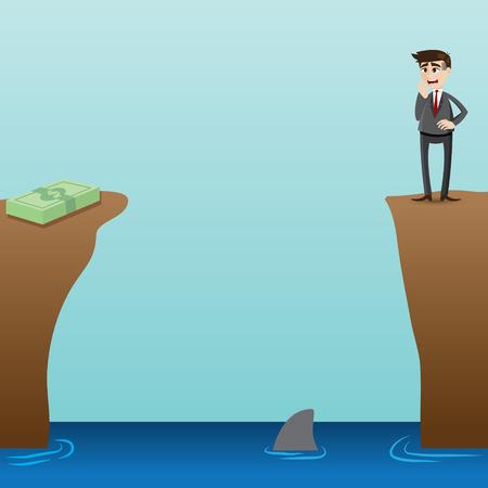 desperate: illustration of cartoon desperate businessman looking at money