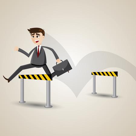 hurdles: illustration of cartoon businessman hurdles in barrier concept