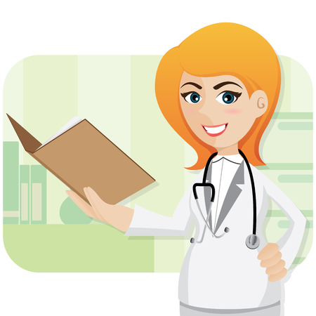 illustration of cartoon cute doctor with folder Vector
