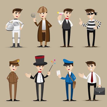 illustration of cartoon occupation set