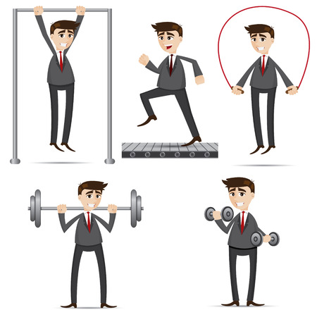 health and wellness: illustration of cartoon businessman exercise set in healthy lifestyle concept