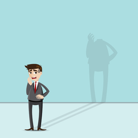 foreshadow: illustration of cartoon businessman with headless shadow in risky concept Illustration