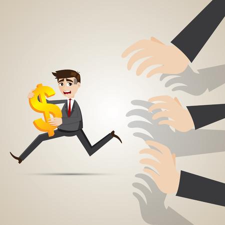 creditor: illustrator of cartoon businessman run away from creditor