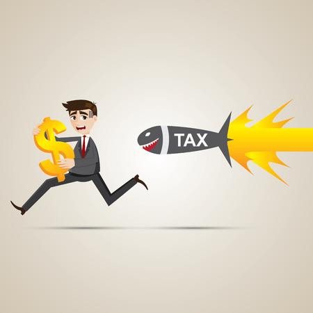 illustration of cartoon businessman run away from tax Vector