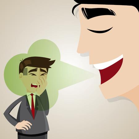 ilustración de dibujos animados de negocios con halitosis apestoso Vectores