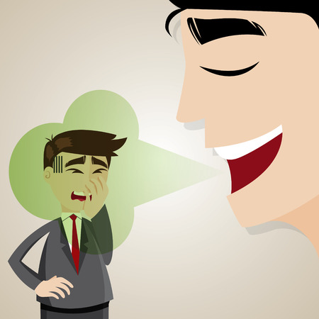 illustration of cartoon businessman with halitosis stinky