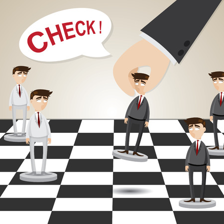 executive board: illustration of cartoon businessman in chessboard in business strategy concept Illustration